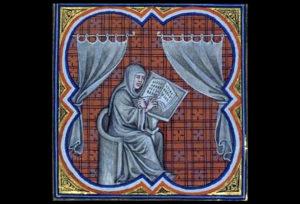 Opat einhard, slika iz ranosrednjovjekovnog iluminiranog rukopisa