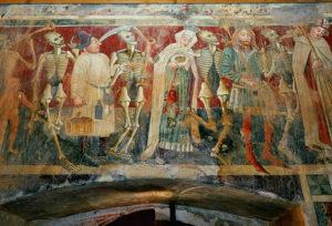 Master of Dance of death, Dance of death, church st. Mary at Škrilinah , Beram, Croatia, detail