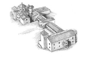 Reconstruction of the palace of Charlemagne in Aachen
