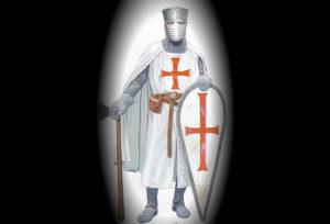 Templar knight taken from Mladen HOUSKA ur. Templari i njihovo nasljeđe, 800 godina od dolaska templara na Zemlju sv. Martina exhibition catalogue, Museum Sv. Ivan Zelina