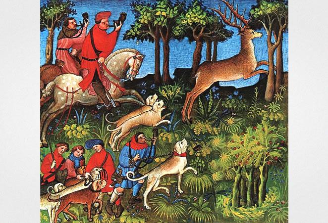 """Hunting, Medieval manuscript  """"Livre de La Chasse"""""""