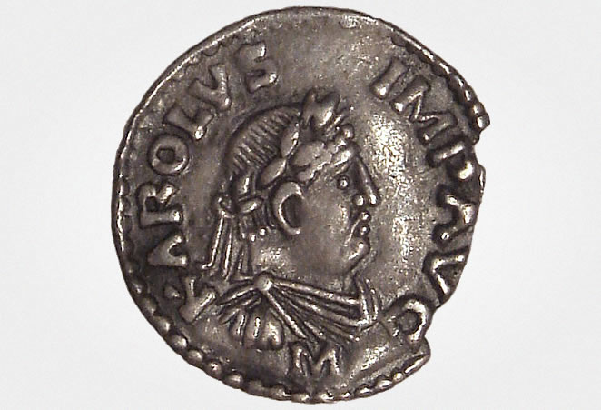 Frankish coin with image of Charlemagne